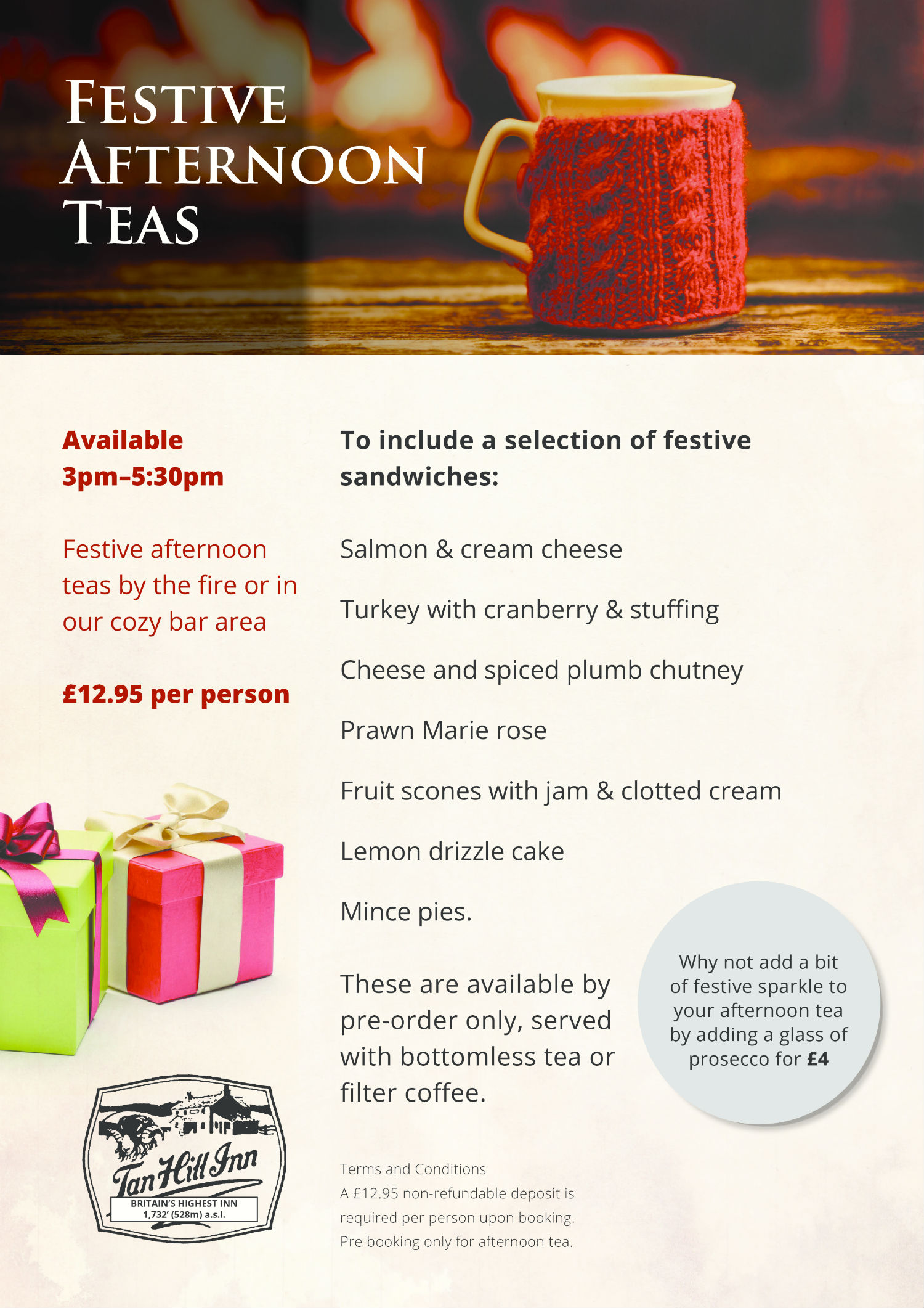 Tan Hill Inn - Christmas Menus